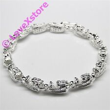 925 Sterling Silver Plated Dragon Heads Chain Bracelet Bangle Bracelets