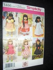 """18"""" DOLL 6 Vintage Dresses NEW Simplicity1486 Pattern Fits American Girl"""