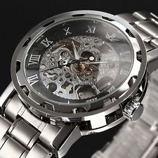 Luxury silver Transparent Steampunk Skeleton Mechanical Stainless Steel Watch