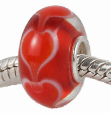 Solid Sterling Silver Red Love Hearts Murano Glass Bead for European Bracelets