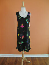 New Mango Bay Size S Black Tropical Print Ruffle Dress Swim Cover-Up