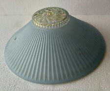 VINTAGE ART DECO GLASS LIGHT SHADE, LIGHT BLUE & CLEAR, 3-HOLES TO CEILING HANG