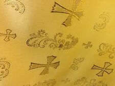 "GOLD  METALLIC  CHURCH BROCADE 60"" WIDE 1 YARD"