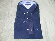 New Men's Tommy Hilfiger Classic Fit S/S Button Down Shirt Navy Blazer LARGE