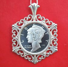 Mercury Dime Liberty Design 1/10 oz. .999 Silver Coin Sterling Silver Necklace