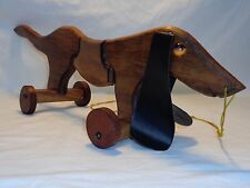 Vtg Wood Toy Dog On Wheels Pull String Sculpture Danish Modern Mid century