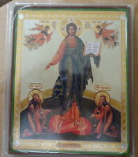 Russian  wood icon  Christ Almighty  w/ angels & saints NEW! large