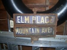 "Vintage Porcelain St. Sign N Caldwell NJ. Mountain Ave and Elm Near ""Soprano"""