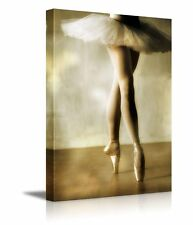 "Canvas Prints Wall Art - Beautiful Ballerina Dancing with White Tutu - 18"" x 12"""