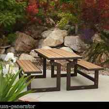 Picnic Table Convertible Bench Set of 2 Benches Garden Yard Furniture Syn. Wood