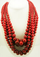 Kenneth Jay Lane Multi Strand Bead Necklace (Red)