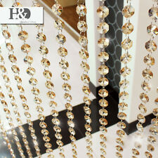 6 FT Champagne Crystal Chandelier Prisms Beaded Chain Wedding Xmas Garland 14mm