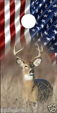 American Flag Deer Hunting in Field Cornhole Board Game Decal Wraps