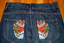 $175 New Ed Hardy Christian Audigier Skull Men's Denim Jean Pants Size W 34 L 34