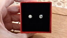 Brand new small round silver solitaire diamond look stud earrings and gift box