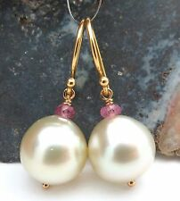 GORGEOUS SOUTH SEA 12.4mm+ PEARL & MOZAMBIQUE PINK SAPPHIRE EARRINGS