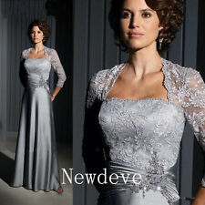 Silver Lace Mother of the Bride Pant Suits Long Sleeve Evening Groom Gown Custom
