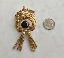 Vintage Florenza Crown Tassel Pin Brooch Amber Topaz Rhinestones Faux Seed Pearl