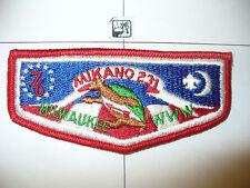 OA Mikano Lodge 231 S-3a,1776- 1976,BIC,FDL,CB,Flap,8,636 Kanwa Tho,Milwaukee,WI