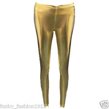 Ladies Womens Wet Look PVC Full Length Leggings Dance Wear 80s Disco Pants