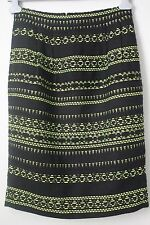 J.Crew Collection Wool Pencil Skirt in Black/Green Size 8