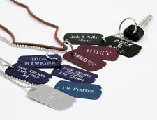 MILITARY CUSTOM ENGRAVED DOG TAGS SILVER WITH CHAIN Great as a Key Chain too.