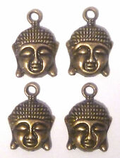 4 x  MEDIUM SIZE BUDDHA HEAD & FACE BRONZE COLOUR  17mm x 15mm HEAD SIZE Approx