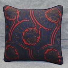 Pillow made w Ralph Lauren Millbrook Navy Blue Paisley Cotton Fabric trim cord