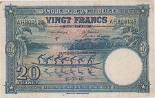 Belgian Congo  20 francs 10.8.1948  P 15F  Prefix AH  Circulated Banknote