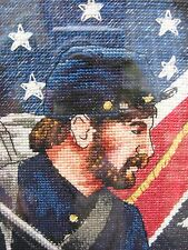 North and South Soldiers Civil War Needlepoint Professionally  Framed