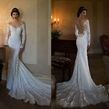 Backless Wedding Dress 2017 long sleeve appliques lace Mermaid Bridal Gowns 2017