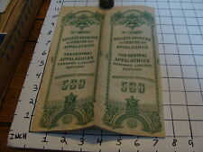 Vintage Early Paper: THE CENTRAL APPALACHIAN co. 5OO FRANCS