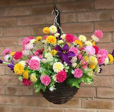 New Ready To Hang Artificial Flower  Hanging Basket Gardern HANDMADE