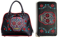 Banned Sugar Candy Skull Muerto Faux Leather Shoulder Bag HANDBAG & WALLET SET