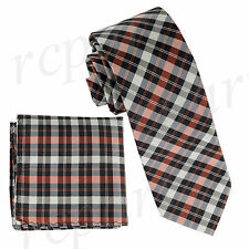 New Milani Men's Polyester Neck Tie & hankie set checker plaid Orange