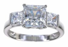 14KT White Gold Princess cut Diamonique 2.55 Ct tw 3 Stone Ring Size 5