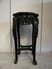 Antique Chinese Rosewood Plant Stand w/ Marble Top Floral & Fu Dog Carving