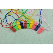 10X Colorful Plastic Whistle & Lanyard Emergency Survival Referee Party's Tools