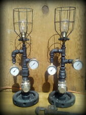 Pair Authentic Industrial Age steampunk iron pipe edison lamps  (feu orange )
