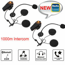 2x1000m BT-S2 Bluetooth Motorbike Motorcycle Helmet Headset Intercom Waterproof