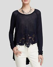 133759 New Free People Jersey That's Amore Tee Patchwork High Low Blouse Top XS