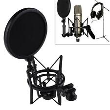 Professional Microphone Shock Mount Mic Holder With Pop Shield Filter Screen