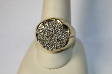 14k Solid Yellow Gold Men's Diamond Cluster Ring Sz 10.5 Heavy 7.9 Grams JSH