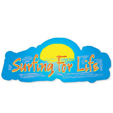 "SURFING FOR LIFE breaking waves bumper sticker 5"" x 3"""