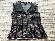 Victoria's Secret Moda Lace Sheer Corset Bustier Top Blouse Black & Nude Sz 4 S
