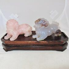 "2 Vintage Chinese Rose Quartz & Agate Foo Dogs or Shi Shi Lions with 7.4"" Stand"