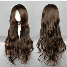 High Quality Women's Long Curly Wavy Wig Cosplay Party Wig Brown Full Wigs+Cap