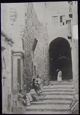 Glass Magic Lantern Slide STREET IN JERUSALEM C1900 PHOTO ISRAEL
