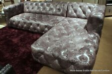 "118"" sectional Vintage gray leather Tufted Sofa LSF loveseat RSF chaise modern"
