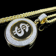 YELLOW 14K GOLD FINISH DOLLAR $ SIGN PENDANT CHARM MEDALLION CHAIN NECKLACE SET